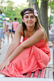 Brunette in a red sundress Stock Photos