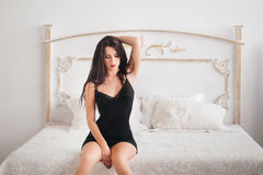 Young brunette sexy glamour woman Royalty Free Stock Photography