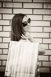 Young brunette with shopping bags Stock Photos
