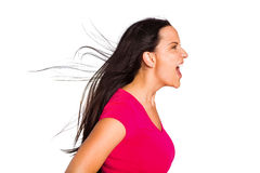 Young brunette shouting in tshirt Stock Photography