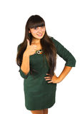 Young brunette showing big thumbs up Stock Photo