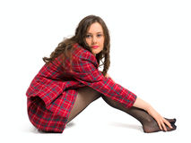 Young brunette sit Royalty Free Stock Photography