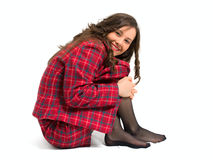 Young brunette sit Stock Photos