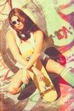 Young Brunette Skater GIrl Stock Images