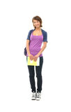 A young brunette teenager in school clothes Stock Photos