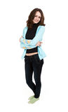 Young brunette in a turquoise jacket Stock Photos