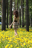 Young brunette walking along the meadow Stock Photo