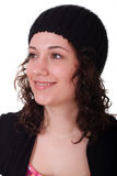 Young Brunette wearing Sock Cap Stock Image