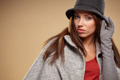 Young brunette woman in autumn color. Stock Image