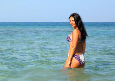 Young brunette woman on beach Royalty Free Stock Image