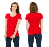 Young brunette woman with blank red shirt stock images