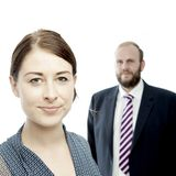 Young brunette woman and business man portrait Stock Photo