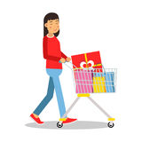 Young brunette woman in casual clothes walking with a shopping cart cartoon character vector Illustratio Stock Photos