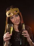 Young brunette woman with champagne glass Royalty Free Stock Image
