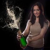 Young brunette woman with champagne glass Stock Image