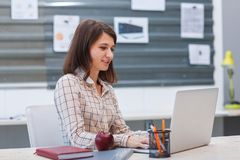 Young brunette woman working behind laptop in office. Royalty Free Stock Image