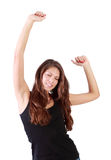 Young brunette woman with closed eyes dances Royalty Free Stock Image