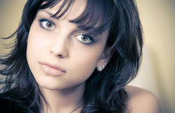 Young brunette woman concept portrait Stock Photo