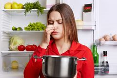 Young brunette woman with displeased expression smells spoiled soup in stew pan, feels musty smell at home kitchen, stands against. Refrigerator. Unpleasant stock images