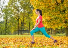 Young brunette woman doing yoga exercises. Young brunette woman doing yoga exercises in a autumn park Royalty Free Stock Photos