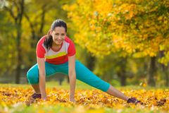 Young brunette woman doing yoga exercises. Stock Photos