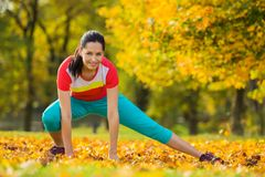 Young brunette woman doing yoga exercises. Young brunette woman doing yoga exercises in a autumn park Royalty Free Stock Image