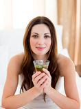 Young brunette woman drinking tea sitting on bed stock image