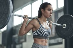 Young woman exercises in gym healthy lifestyle ready to lift barbell Royalty Free Stock Images