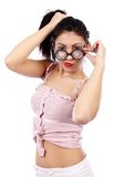 Young brunette woman with eyeglasses Stock Photos