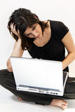 Young Brunette Woman Has Computer Problems Stock Images