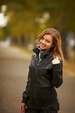Young brunette woman portrait in autumn color Stock Photography