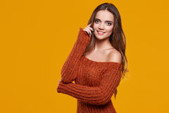 Young brunette woman portrait in autumn color Stock Images