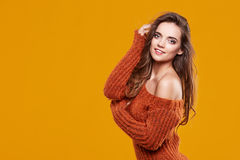 Young brunette woman portrait in autumn color Royalty Free Stock Images