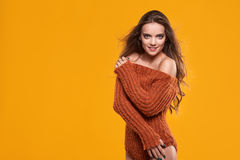Young brunette woman portrait in autumn color Royalty Free Stock Photos