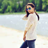 Young brunette woman portrait outdoor. S Royalty Free Stock Photo
