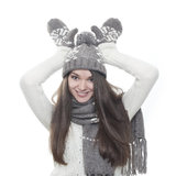 Young brunette woman pretending reindeer Royalty Free Stock Photo