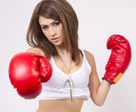 Young  brunette woman with red boxing gloves Stock Image