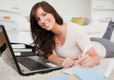 Young brunette woman relaxing Royalty Free Stock Images