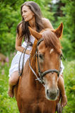 Young brunette woman rides a horse Stock Image