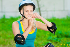 Young brunette woman on roller skates Royalty Free Stock Photos