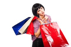 Young brunette woman with shopping bags Royalty Free Stock Photography