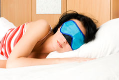 Young brunette woman sleeps Royalty Free Stock Images