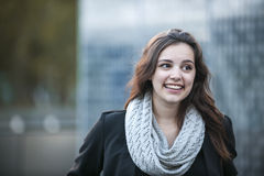Young brunette woman smiling Stock Photo
