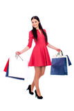 Young brunette woman with some shopping bags. Young beautiful brunette woman in red dress with some shopping bags, isolated on white background Royalty Free Stock Images