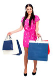 Young brunette woman with some shopping bags Stock Photography
