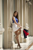 Young brunette woman with some shopping bags in the mall. Young beautiful brunette woman with some shopping bags in the mall royalty free stock photo