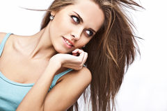 Young brunette woman in tank top Royalty Free Stock Images