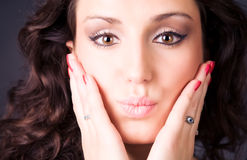 Young brunette woman tender portrait Stock Images