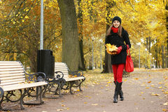 A young brunette woman walking in an Autumn park Stock Image