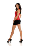 Young brunette woman wearing a short skirt Royalty Free Stock Photos